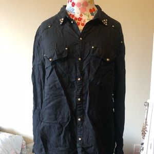 Black Studded Button-Down